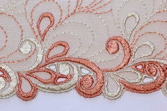 Macro shot of the brown and white lace texture material Royalty Free Stock Image