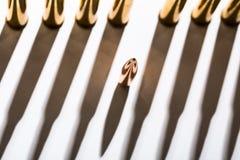 Macro shot of bullet casings on a white studio Stock Photos
