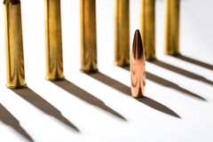 Macro shot of bullet casings on a white studio Royalty Free Stock Images