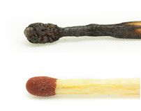 Macro shot of a burnt match head isolated Stock Photo