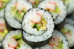 Macro Shot of California Sushi Roll Stock Photography