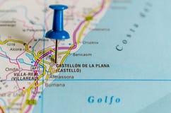Castellón de la Plana on map stock image
