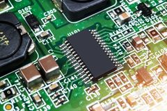 Macro shot of a Circuitboard with resistors microchips and electronic components. Computer hardware technology. Integrated communi. Cation processor. Information royalty free stock photography