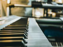 Macro shot of the classical piano keys Royalty Free Stock Photos