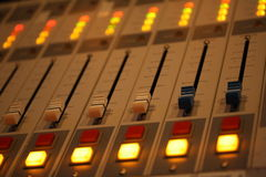 Macro shot close up of sound mixing board in recording record studio Royalty Free Stock Photos