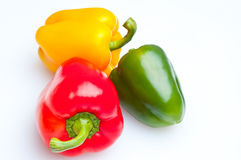 Macro shot of colorful bell peppers isolated Royalty Free Stock Image