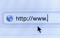 Macro shot of computer screen with http:// address bar and web.  Stock Photo