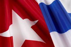 Macro shot of Cuban flag Stock Photo