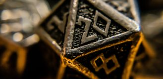Macro shot of d20 On a Table royalty free stock photography