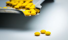 Macro shot detail of yellow round sugar coated tablets pills on. Stainless steel drug tray and some of them are on white background Stock Images