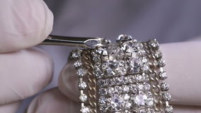 Macro Shot Of Diamond on a Bracelet stock video
