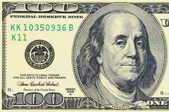 Macro shot of a 100 dollar. Benjamin Franklin as depicted on the bill Stock Images