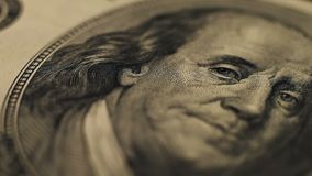 Macro shot of a 100 dollar. Macro shot of a one hundred usa dollar banknote. Business concept stock video