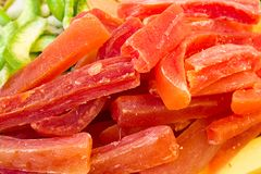 DRIED AND CARAMELIZED FRUITS MACRO SHOT stock photography