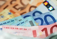 Macro Shot Of Euro Banknotes Focus On 20 Stock Photography