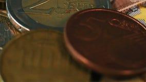 Macro Shot Of A Euro Coins. Macro Shot Of A Golden Euro Coins. Financial Concept stock video