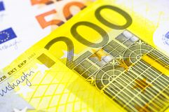 Macro shot of 200 Euro Money. euro cash background. Euro money Close Up Concept. EUR currency, Financial colorful background. Royalty Free Stock Photos