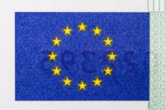 European Union Flag on Paper Currency Stock Photo