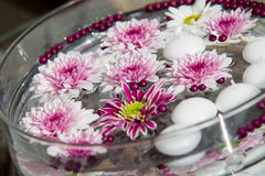 Macro shot of flower table decorations. Floating Candles and Flowers. Decoration for a garden party royalty free stock photo