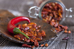 Macro shot of fresh and dried chillies Royalty Free Stock Photos