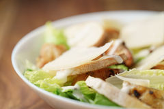 Macro shot of fresh homemade caesar salad with chicken Royalty Free Stock Photography