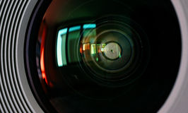 Macro shot of front element of a camera lens Royalty Free Stock Photo