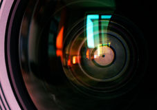 Macro shot of front element of a camera lens Stock Image