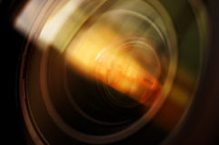 Macro shot of front element of a camera lens Royalty Free Stock Image