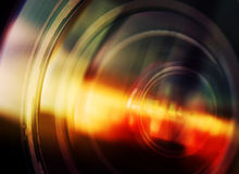 Macro shot of front element of a camera lens Royalty Free Stock Images