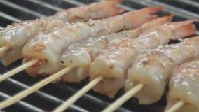 Macro shot of a frying shrimps stock video