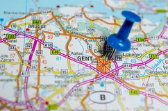 Gent on map. Macro shot of Gent or Ghent on map with push pin Stock Photo