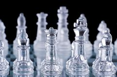 Macro shot of glass chess set Stock Photography