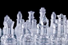Macro shot of glass chess set Stock Images