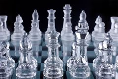 Macro shot of glass chess set Royalty Free Stock Photography