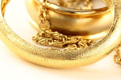 Macro shot gold jewelry Stock Photo