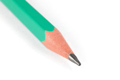 Macro shot of green pencil isolated on white Royalty Free Stock Photos