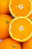 macro shot of half cut oranges Stock Photo