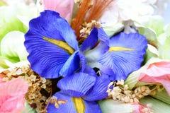 Macro shot handmade artificial flowers. Macro shot a handmade flowers Royalty Free Stock Image