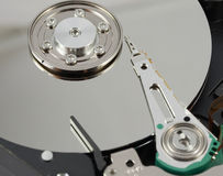 Macro shot of hard drive interior. Selective focus Stock Images