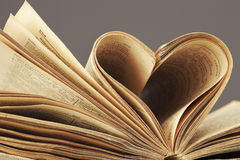 Macro shot of heart in old book Royalty Free Stock Image