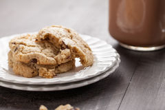 Macro shot of homemade chocolate chip oatmeal cookies Royalty Free Stock Photography