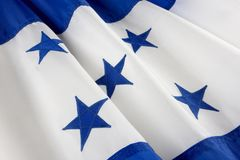 Macro shot of Honduran flag Royalty Free Stock Images