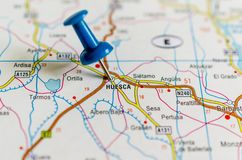 Huesca on map stock image