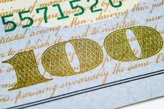 Macro shot image of the corner of a 100 dollar bill banknotes. Concept of financial success. Background of 100 dollar bills. One h. Undred dollars stock photo