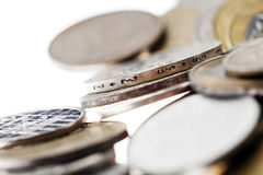 Coins Macro Background on White Royalty Free Stock Image