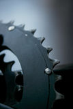 Macro shot on larger chainring Royalty Free Stock Photo