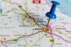 Larissa on map royalty free stock image