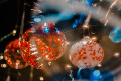 Macro shot looking through a glass ornament Royalty Free Stock Photo