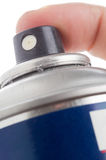 Macro shot of a male hand holding a spray can Royalty Free Stock Photo