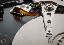 Macro shot of the mechanism of the hard drive Royalty Free Stock Images